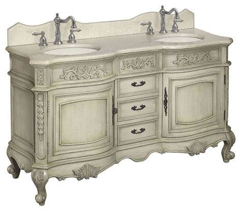 Foret Vanities by Foret 60 Quot Antique Parchment Vanity With Marble