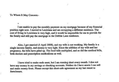 Letter Of Explanation Foreclosure Sle Hardship Letter For Sales