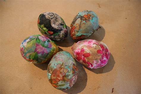 Decoupage Eggs - pink and green kid s craft decoupage