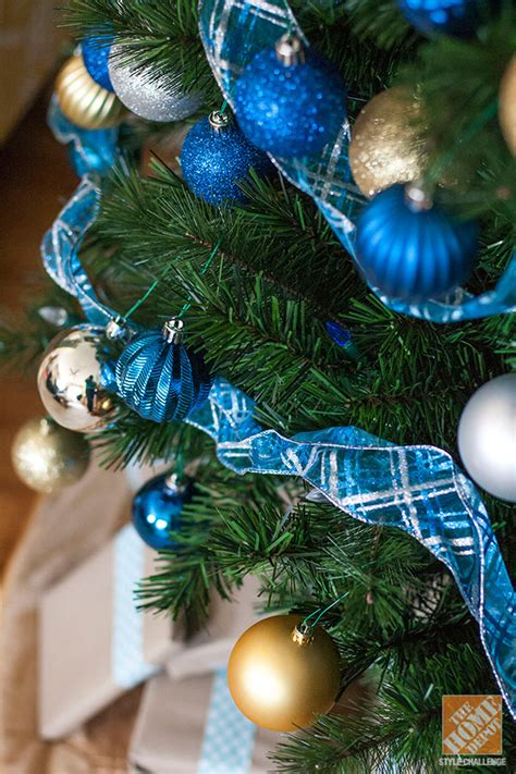 blue and gold christmas trees decorating trees and coffee cups