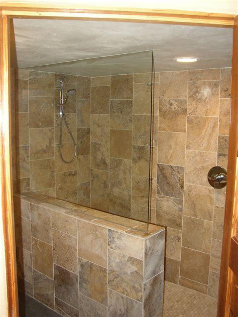 Tiled Walk In Shower by Basement Remodel With Travertine Tile Walk In Shower Flickr