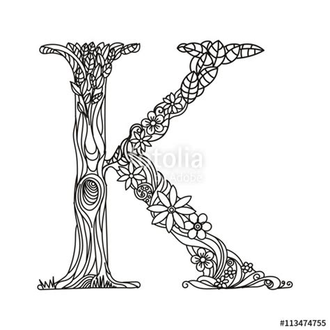 coloring pages for adults vector quot letter k coloring book for adults vector quot stock image and