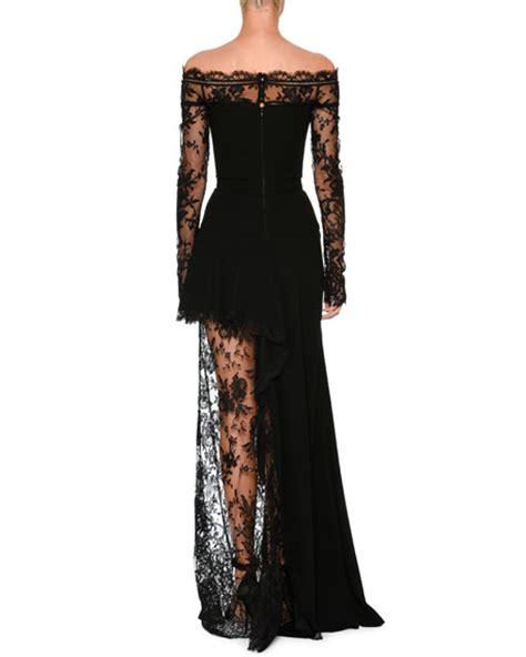 Shoulder Lace Evening Gown mcqueen the shoulder lace illusion column