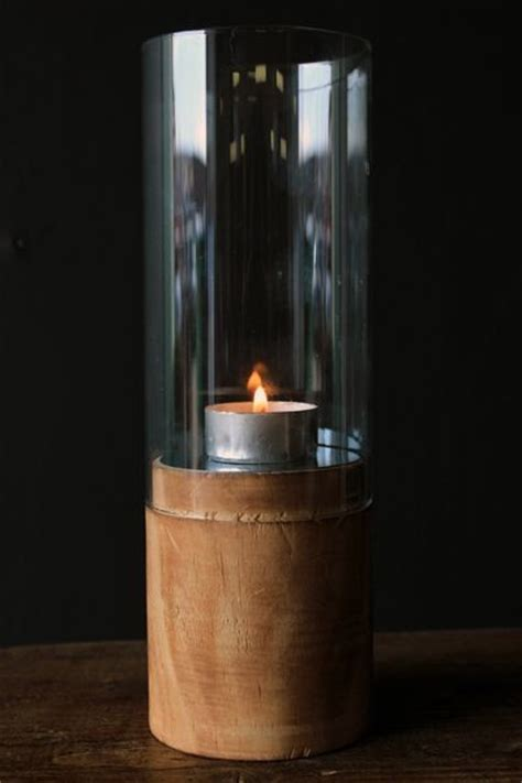 Wood And Glass Candle Holders Wood Glass And Mirror Hurricane Candle Holder