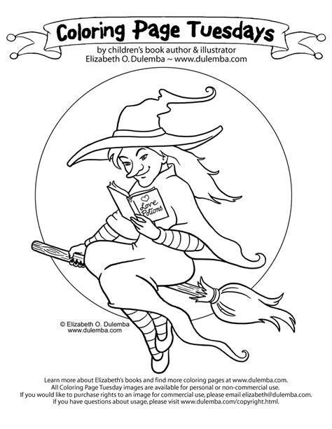 coloring page tuesday dulemba coloring page tuesday reading witch
