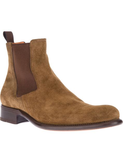 santoni casual boot in brown for lyst
