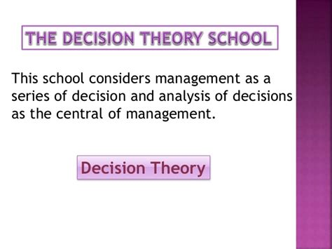 pattern of management theory empirical and decision theory school