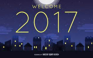 Welcome 2017 night sign free vector