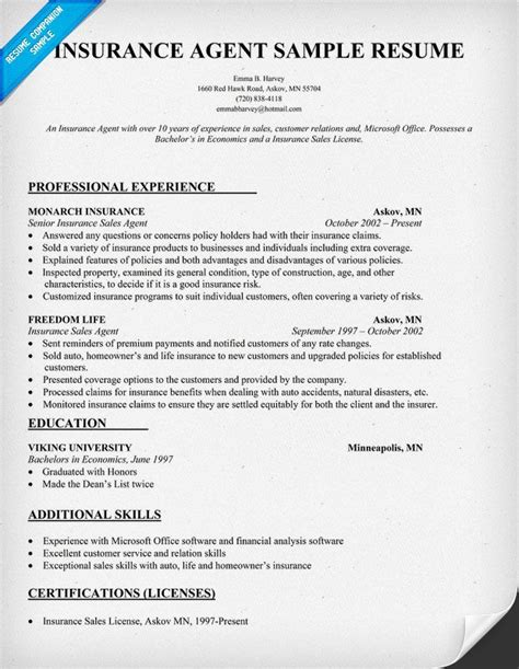 Resume Samples Insurance Jobs insurance agent resume sample for work pinterest