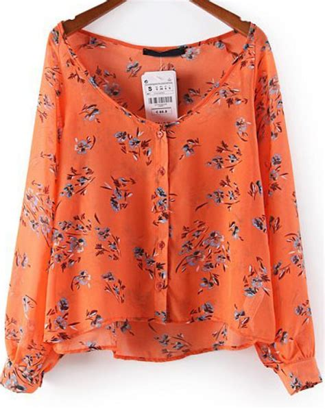 Floral Sleeve Chiffon Blouse orange sleeve floral chiffon blouse abaday