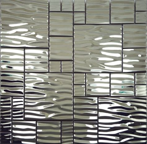 silver metal mosaic stainless steel kitchen wall tile