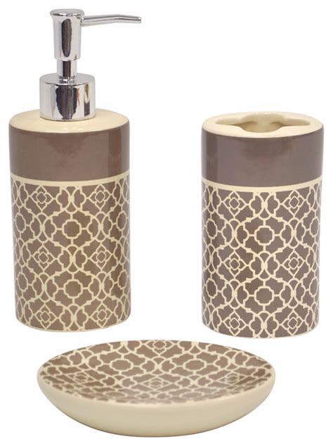 bathroom accessories set lovely lattice taupe bath accessory 3 set