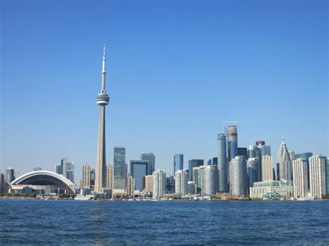 the boat toronto the toronto skyline and cn tower as seen from the boat