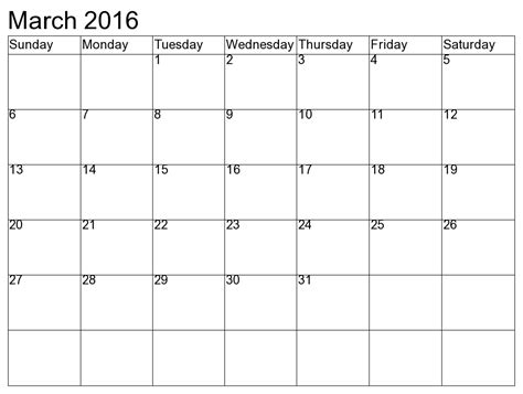 printable calendar april 2016 march 2017 march 2016 blank printable calendar