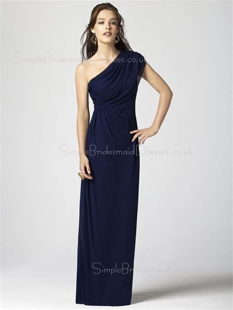 Navy Bridesmaid Dress by Sheath Zipper Navy Chiffon One Shoulder Bridesmaid