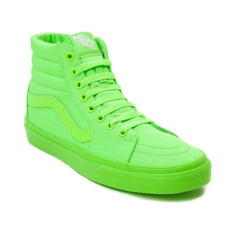 light green high top vans vans sk8 hi skate shoe neon green neon and vans