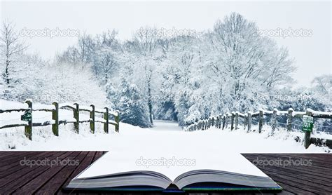 libro winter magic winter wonderland snow landscape in pages of magic book stock photo 169 veneratio 9644963