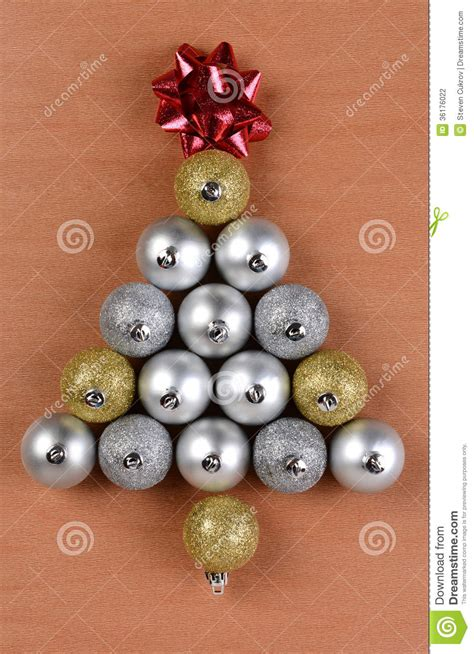 christmas tree shape made from ornaments stock photo