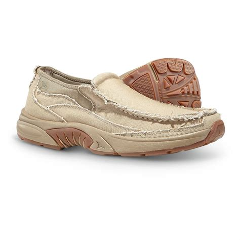 Rugged Slip On Shoes Men S Rugged Shark Annapolis 3 Slip On Boat Shoes Khaki