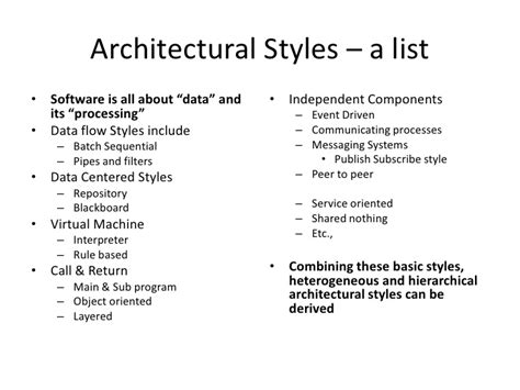 list of home styles software architecture simplified