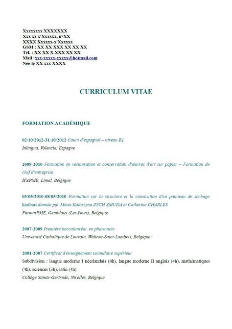 Lettre De Recommandation Belgique Exemple Cv Belgique Cv Anonyme