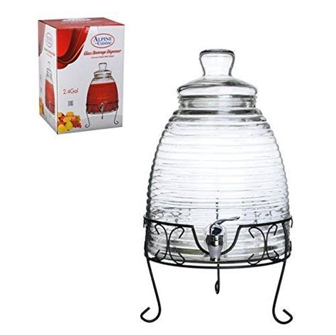 mexican style 9 liter 2 4 gallon glass beverage water dispenser metal base stand common shopping