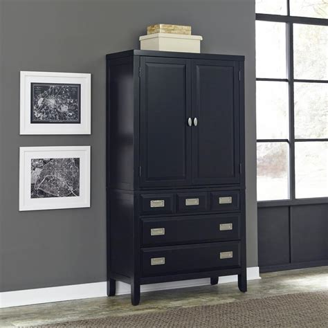 black armoire wardrobe furniture hodedah import inc hodedah 2 door armoire with 2 drawers