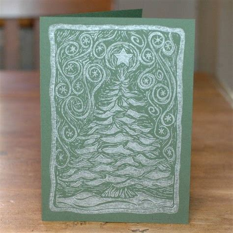 Lino Cut Cards by Linocut Cards Snowy Tree Forest Set By