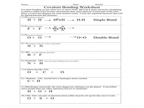 Covalent Bonding Worksheet Pdf covalent bond worksheet homeschooldressage
