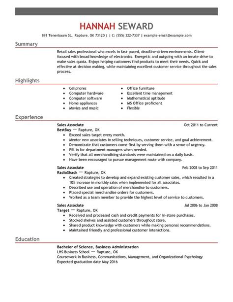 Resume Sles Canada 2014 Professional Sales Associate Templates To Showcase Your Talent Myperfectresume