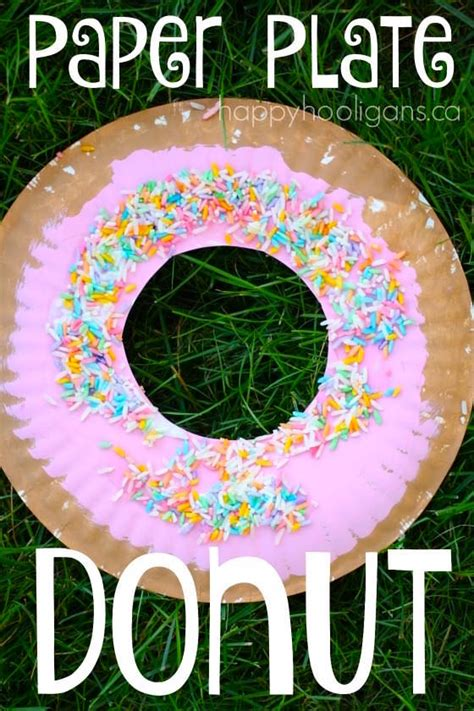 Paper Crafts For Preschoolers - paper plate donut craft for happy hooligans
