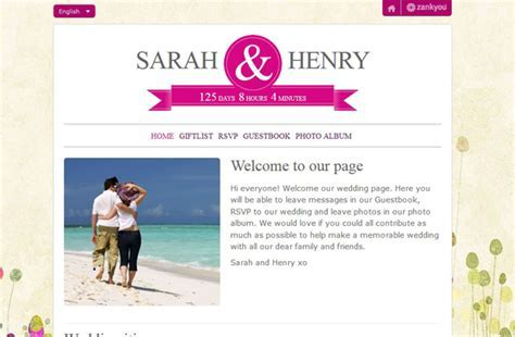 Personalised Wedding Websites & Gift LIsts from Zankyou