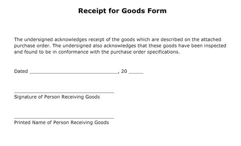 Acknowledgement Letter Delivery Of Goods Free Receipt For Goods Form Pdf Template Form