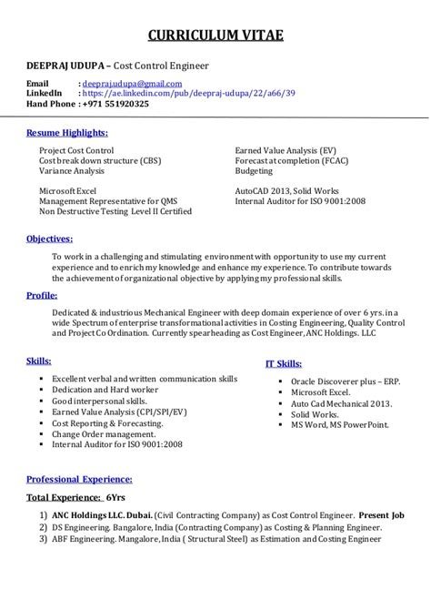 Resume Sample Objectives by Resume Cost Control Engineer Deepraj Udupa