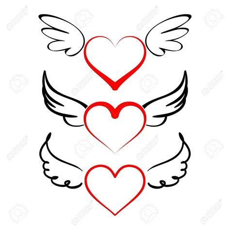 heart with wings tattoos with wings collection vector illustration