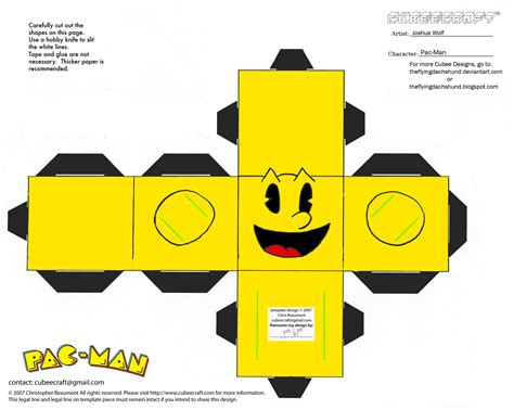 Cube Papercraft - pacman paper images designs patterns papercraft