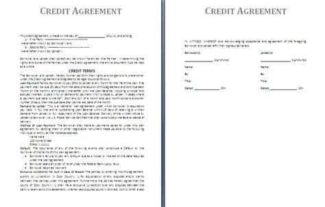 credit agreement template free agreement and contract templates