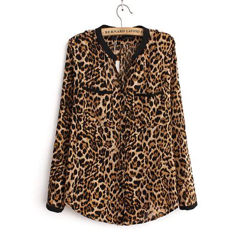 Jy60287 Sleeves Blouse Atasan Top Leopard Collar 2016 blouse leopard print shirt sleeve v neck top blouses plus size chiffon