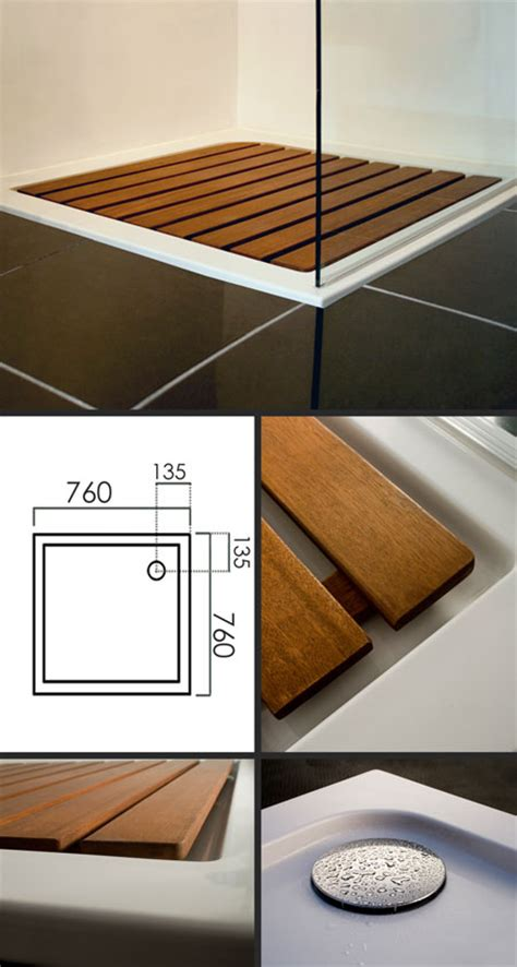 low profile shower tray with wooden insert samba
