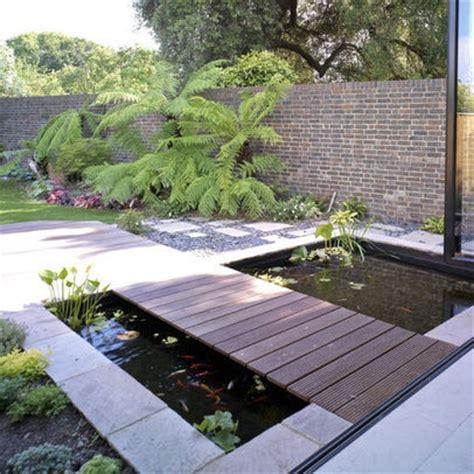 Backyard Flat by Flat Wood Bridge Small Modern Pond Backyard