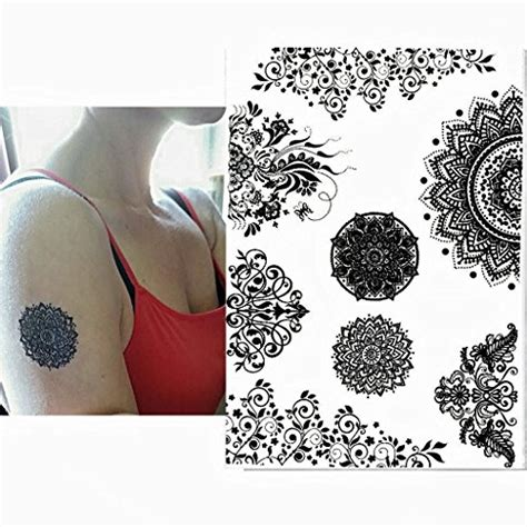 henna temporary tattoo amazon pinkiou henna stickers lace mehndi temporary