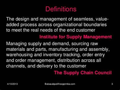 Supply Chain Management Notes For Mba by Supply Chain Management Mba 4 Sem Production Management