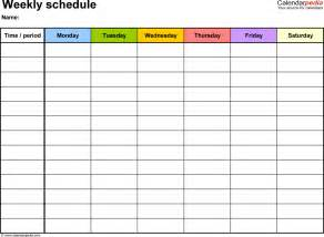 Weekly Schedule Template For Word Version 8 Landscape 1 Page Monday » Home Design 2017
