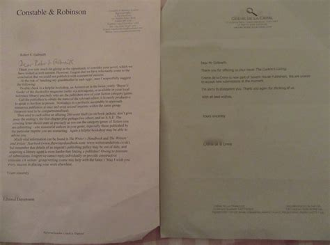 Rejection Letter Book Rowling Publishes Galbraith Rejection Letters Deadline News