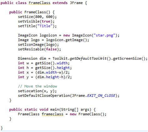 how to create a frame in java using swings java jframe making main windows