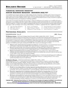 business resumes templates resume sle business analyst