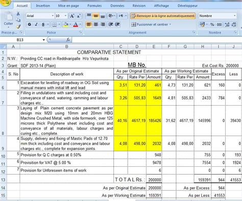 microsoft excel estimate template road estimate template in excel format civil engineering