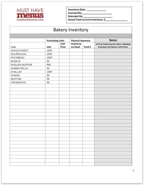 Bakery Inventory Spreadsheet by Bakery Inventory Form Template Restaurant Management Tools
