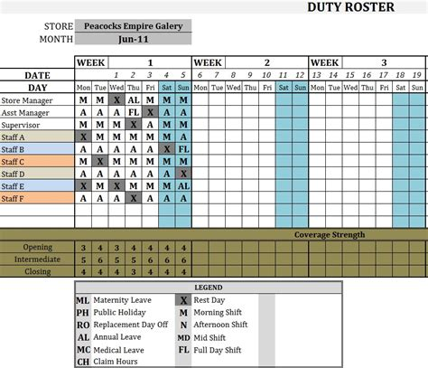 Excel Duty Roster Template For Hospital Driver Security Guard Schedule Template