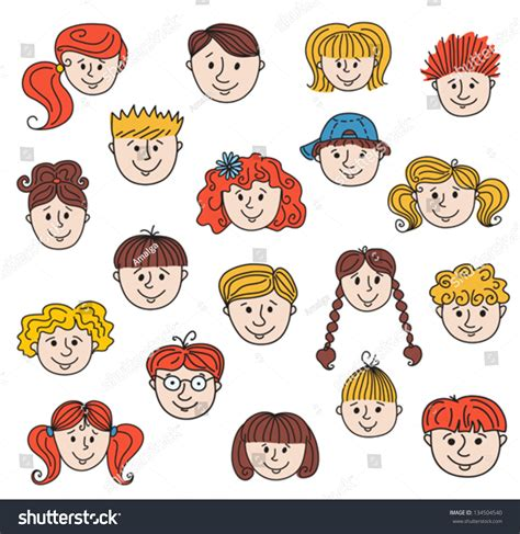 how to do smiley on doodle fit set of smiley children faces doodle style illustration